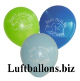 Partydekoration zum 1. Geburtstag, Bunte Luftballons, 1st Birthday, Jungen, Schildkröte, 8 Stück