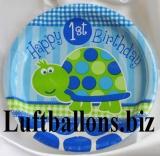Partydekoration zum 1. Geburtstag, Teller, Schildkröte, 1st Birthday, 8 Stück