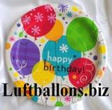 Geburtstag, Tischdekoration, Partyteller Breezy Birthday, 8 Stück