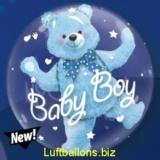 Double-Bubble, Insider PVC-Luftballon, Baby Bär zur Geburt eines Jungen, mit Helium
