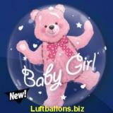 Double-Bubble, Insider PVC-Luftballon, Baby Bär zur Geburt, Mädchen, mit Helium