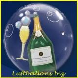 Double-Bubble, Insider PVC-Luftballon, Champagner, mit Helium-Ballongas