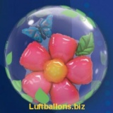 Double-Bubble, Insider PVC-Luftballon, Blume und Schmetterling