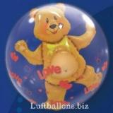 Double-Bubble, Insider PVC-Luftballon, Bärchen mit Herzen der Liebe, mit Helium