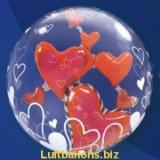 Double-Bubble, Insider PVC-Luftballon, Schwebende Herzen der Liebe, mit Helium