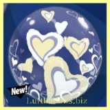 Double-Bubble, Insider PVC-Luftballon, White and Ivory Floating Hearts, mit Helium