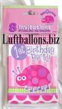Partydekoration zum 1. Geburtstag, Einladungskarten, Marienkäfer, 1st Birthday, 8 Stück