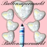 Folienballons zur Hochzeit, Just Married, Champagnergläser, inklusive Helium-Einweg-Miniflasche