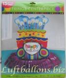 Geburtstag, Tischdekoration, Tischdeko-Ständer, Geburtstagstorte mit Zier-Fransen