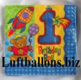 Partydekoration zum 1. Geburtstag, Servietten, Bärchen, Zahl 1