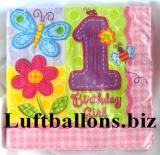 Partydekoration zum 1. Geburtstag, Servietten, Blumen und Schmetterlinge, Zahl 1