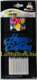 Geburtstagskerzen-Set, Tortenkerzen, Geburtstagskerze mit Happy Birthday Kerzenhalter, Blau