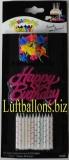 Geburtstagskerzen-Set, Tortenkerzen mit Happy Birthday Kerzenhaltern in Pink