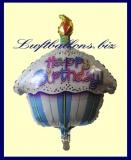 Happy Birthday Geburtstagskuchen, Folien-Luftballon mit Helium zum Geburtstag