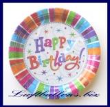 Geburtstag, Tischdekoration, große Partyteller Radiant Birthday, 8 Stück