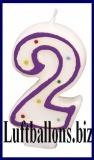 Geburtstag Dekoration, Tortenkerze mit der Zahl 2