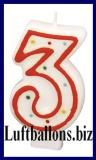 Geburtstag Dekoration, Tortenkerze mit der Zahl 3