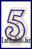 Geburtstag Dekoration, Tortenkerze mit der Zahl 5