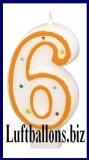 Geburtstag Dekoration, Tortenkerze mit der Zahl 6