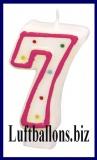 Geburtstag Dekoration, Tortenkerze mit der Zahl 7