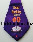 Riesen Krawatte mit Musik, Happy Birthday, zum 60. Geburtstag