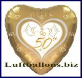 Luftballon zur Goldenen Hochzeit, Herzluftballon in Gold