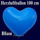Herzluftballon, Luftballon in Herzform, 1 Stück, Blau, 100 cm