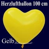 Herzluftballon, Luftballon in Herzform, 1 Stück, Gelb, 100 cm