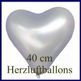Silberne Herzluftballons, 40 cm, 10 Stück