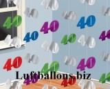 Geburtstag-Dekoration, Zahlenketten-Hänger, Dekoration zum 40. Geburtstag, Bunt