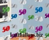 Geburtstag-Dekoration, Zahlendeko-Ketten, 50. Geburtstag, Bunt