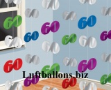 Geburtstag-Dekoration, Zahlenketten-Hänger, Dekoration zum 60. Geburtstag, Bunt