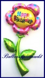 Happy Birthday Blume, Deko-Luftballon aus Folie