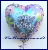 Happy Birthday Blumen, Folien-Herzluftballon mit Helium zum Geburtstag