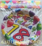 Geburtstag, Tischdekoration, Party Teller zum 18. Geburtstag, 6 Stück