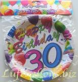 Geburtstag, Tischdekoration, Party Teller zum 30. Geburtstag, 6 Stück