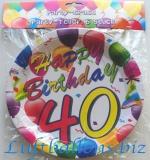 Geburtstag, Tischdekoration, Party Teller zum 40. Geburtstag, 6 Stück