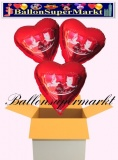 3 Luftballons mit Helium zur Hochzeit, Alles Gute zur Hochzeit, Rot, Hochzeitstauben, Folien-Luftballons