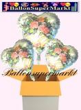 3 Luftballons mit Helium zur Hochzeit, Blumen und Hochzeitsglocken, Folienballons