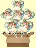 6 Luftballons mit Helium zur Hochzeit, Blumen und Hochzeitsglocken, Folien-Luftballons
