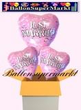 3 Luftballons mit Helium zur Hochzeit, Just Married, Herzballons aus Folie