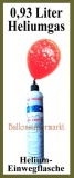 Helium Einwegflasche, 0,93 Liter Heliumgas, Ballongas