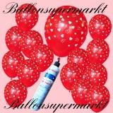 Luftballons Helium Set, Miniflasche, Latex-Luftballons in Rot mit weißen Herzchen