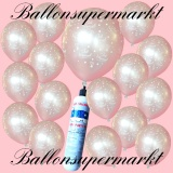 Luftballons Helium Set, Miniflasche, Latex-Luftballons in Silber, Just Married