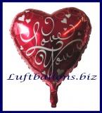 Luftballon aus Folie, Liebe, Herzluftballon I Love You, inklusive Helium