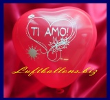Mini-Herzluftballons, 8-12 cm, Rot, bedruckt: Ti amo, 50 Stück