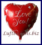 Luftballon aus Folie, Liebe, Herzluftballon I Love You, roter Ballon mit weißen Herzen, inklusive Helium