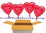 Luftballons aus Folie, Liebe, Herzluftballons Ich liebe dich, Hearts, inklusive Helium, 4 Stück