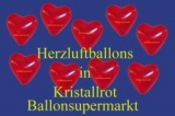 Herzluftballons, Herzballone, Luftballons in Herzform, 100 Stück, Kristallrot, 30-33 cm