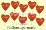 Herzluftballons, Herzballone, Luftballons in Herzform, 100 Stück, Orange, 30-33 cm